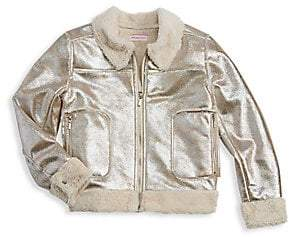 Design History Girl's Distressed Metallic Faux Fur Lined Bomber Jacket