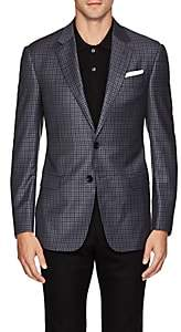 Giorgio Armani Men's Soft Gingham Wool Two-Button Sportcoat - Blue