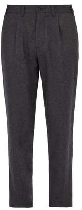 Altea Lincoln Relaxed Leg Wool Blend Trousers - Mens - Charcoal
