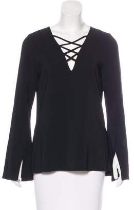 Ramy Brook Lace-Up Long Sleeve Top