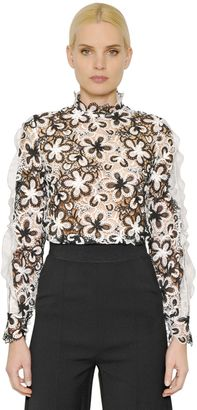 Floral Lace Top With Organza Detail $316 thestylecure.com