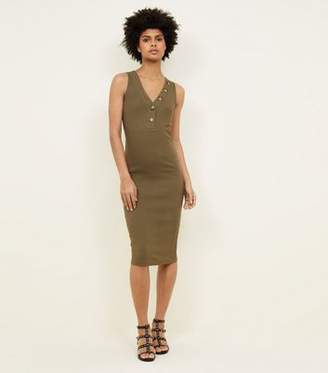 New Look Khaki V-Neck Sleeveless Jersey Midi Dress