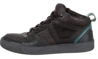 Lanvin Embossed Leather High-Top Sneakers