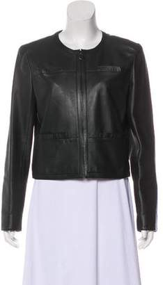 Chanel Leather Zip-Front Jacket