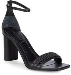 KENDALL + KYLIE Block Heel Ankle Strap Leather Sandals