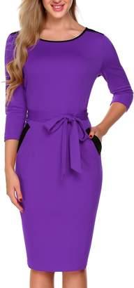 Burlady Women's Crew Neck 3/4 Sleeve Belt Business Pencil Dress with Pocket