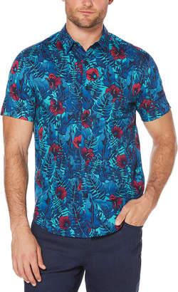 Cubavera Slim Fit Hibiscus Floral Print Shirt
