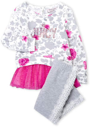 Juicy Couture Toddler Girls) Two-Piece Floral Tutu Tunic Pullover & Lace Trim Leggings Set