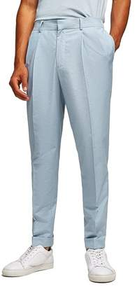 Topman Slim Fit Cropped Pleated Trousers
