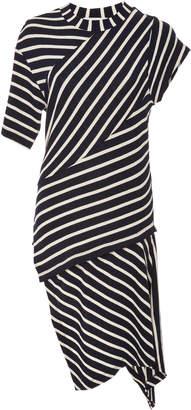 Monse Asymmetric Striped Cotton-Jersey T-Shirt