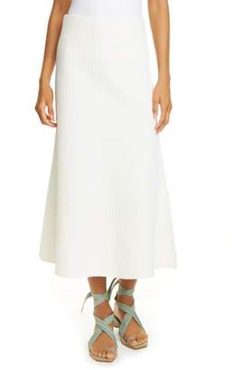 Tibi Tech Ribbed Midi Skirt