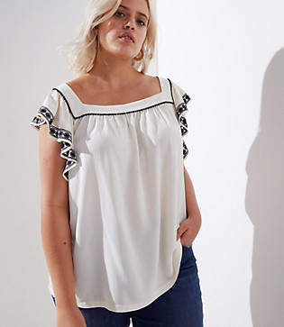 LOFT Plus Embroidered Flutter Square Neck Top