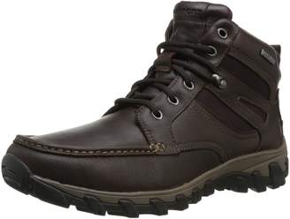 Rockport Men's Cold Springs Plus Mocc Toe Boot - High 7 Eyelets Dark Brown Tumbled Leather 7.5 M (D)
