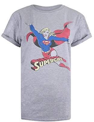 DC Comics Women's Retro Supergirl T-Shirt, (Sport Grey), (Size: Medium)