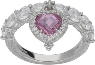 Judith Ripka Sterling 3.45 cttw Heart Dangle Diamonique Ring