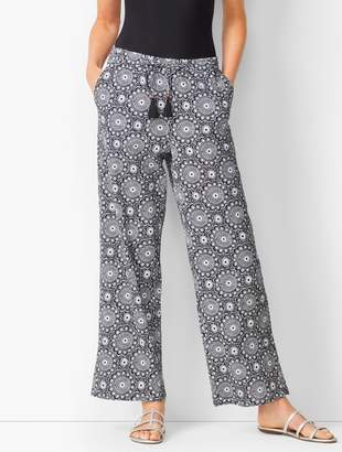 Talbots Crinkle-Cotton Beach Pants - Medallion Print
