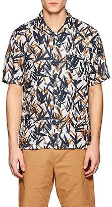 Theory Men's Daze Leaf-Print Linen Shirt