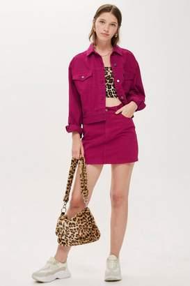 Topshop TALL Raspberry Denim Skirt