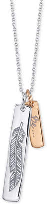 """Unwritten Two-Tone Leaf """"Free"""" Vertical Tag 18"""" Pendant Necklace in Sterling Silver & Rose Gold-Flash"""