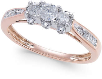 Macy's Diamond Trinity Engagement Ring (1/2 ct. t.w.) in 14k Rose Gold, Yellow Gold and White Gold