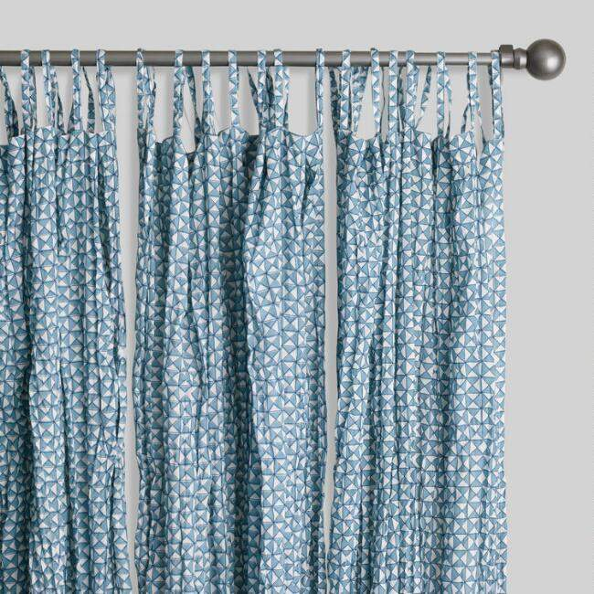 Blue Geometric Print Crinkle Voile Tie Top Curtains Set of 2