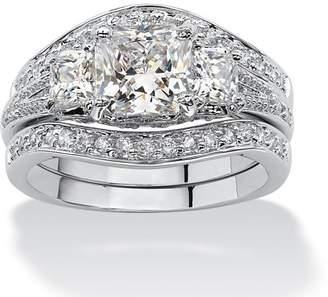 PalmBeach Jewelry Palm Beach Jewelry 2.89 TCW Princess-Cut Cubic Zirconia Platinum-Plated Bridal Engagement Wedding Band Set