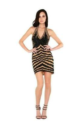 Wow Couture Beaded Halter Dress