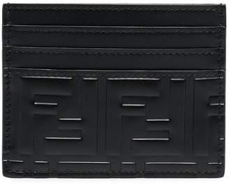 Fendi black FF logo embossed leather cardholder