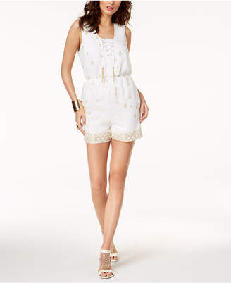 Thalia Sodi Embellished Lace-Up Romper