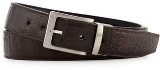 W.KLEINBERG W. Kleinberg Reversible Crocodile & Leather Belt Two-Buckle Box Set