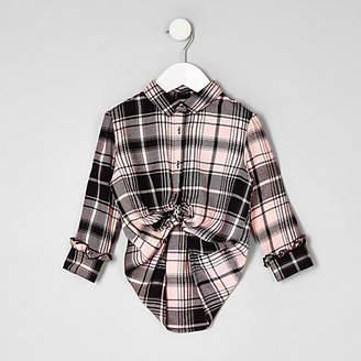 River Island Mini girls Pink check boyfriend fit shirt