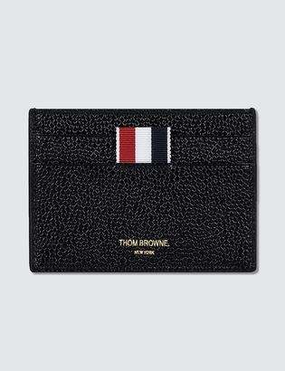 Thom Browne Pebble Grain and Calf Leather Single Card Holder with RWB Diagonal Stripe $370 thestylecure.com