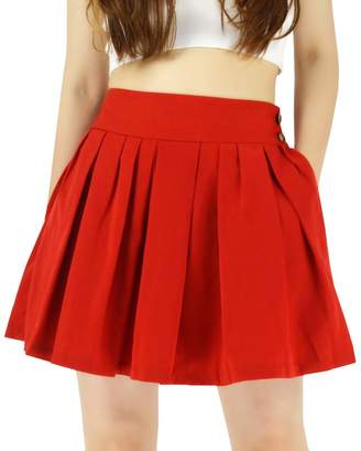 2ad36e4461c83b YSJ Women's High Waisted Pleated Mini A Line Skater Skirts with Pockets  (XL, )
