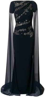Talbot Runhof sheer cape long dress