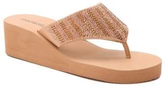 OLIVIA MILLER Rhinestone Wedge Sandal