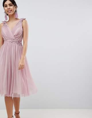 Little Mistress Blush Mesh Wrap Front Midi Dress
