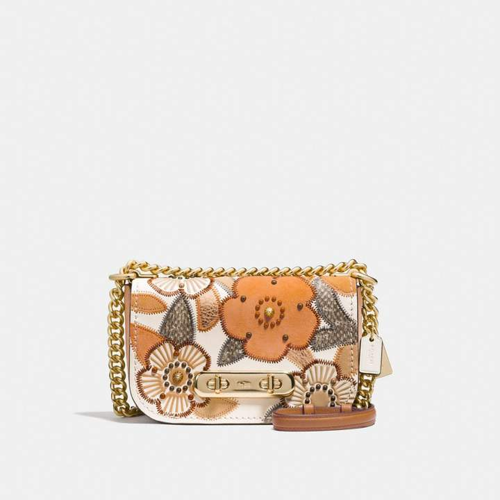 Coach Swagger Shoulder Bag 20 With Patchwork Tea Rose And Snakeskin Detail - CHALK MULTI/LIGHT GOLD - STYLE