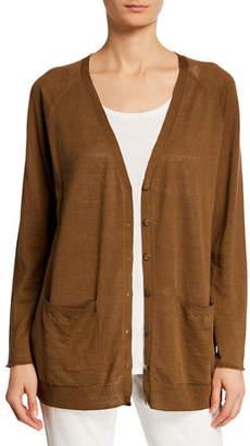 5184bcc1bbc Eileen Fisher Organic Linen-Cotton Patch-Pocket Cardigan