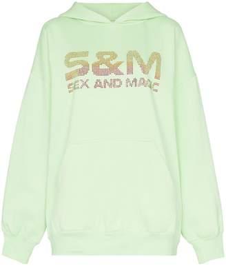 Ashish crystal embellished S&M slogan hoodie