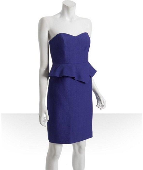 Nicole Miller cobalt hammered wool-silk peplum dress