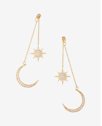 Express Star And Moon Drop Earrings $29.90 thestylecure.com