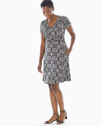 Soft Jersey V Neck Short Dress Trellis Black