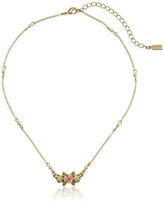 1928 Jewelry Essentials Gold-Tone Simulated Pearl Pink Porcelain Rose Pendant Necklace
