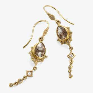 Annie Fensterstock Long Scallop Earring Gray & White Diamonds, Gold