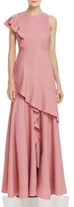 Aqua Asymmetric Ruffle Gown - 100% Exclusive