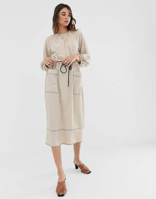 Asos Design DESIGN midi dress with contrast stitching and drawstring waist