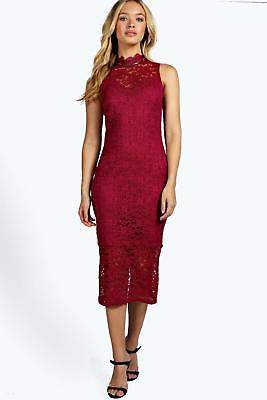 boohoo NEW Womens Boutique Lace High Neck Bodycon Midi Dress in Polyester