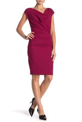 Hale Bob Cap Sleeve Cowl Neck Midi Dress