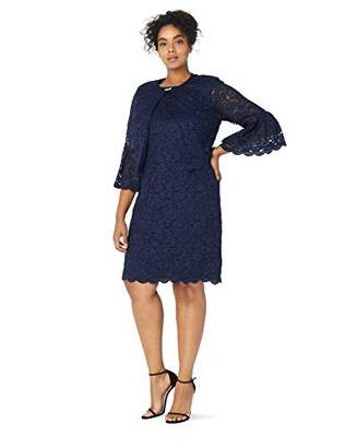 897403400b1 Jessica Howard Plus Size Womens Pleated Bell Sleeve Swing Jacket Dress