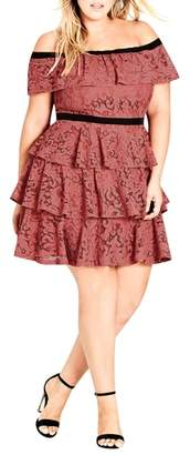 City Chic Lady Layers Ruffle Lace Off the Shoulder Dress
